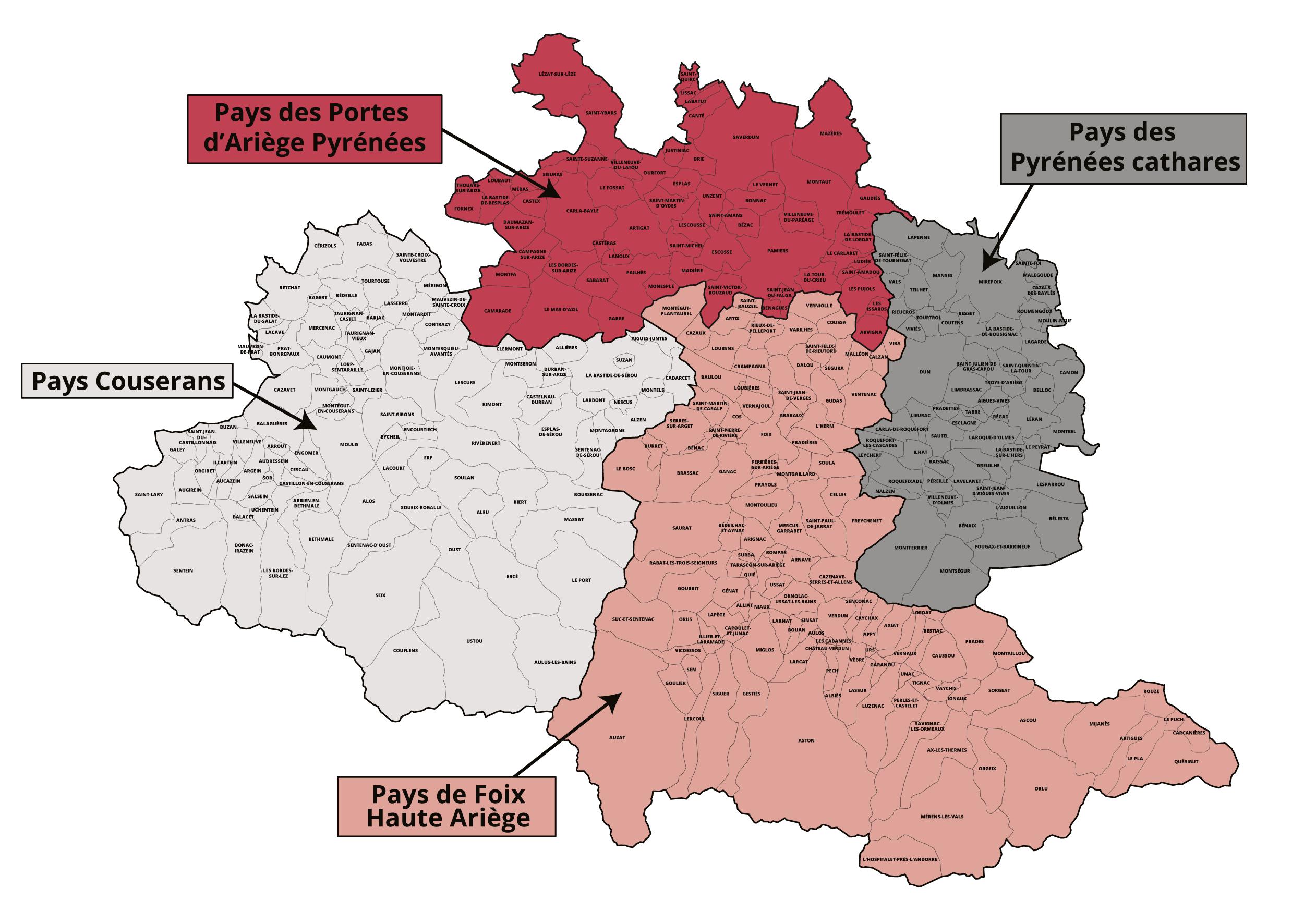 Carte des pays en Ariège - SOliHA Ariège