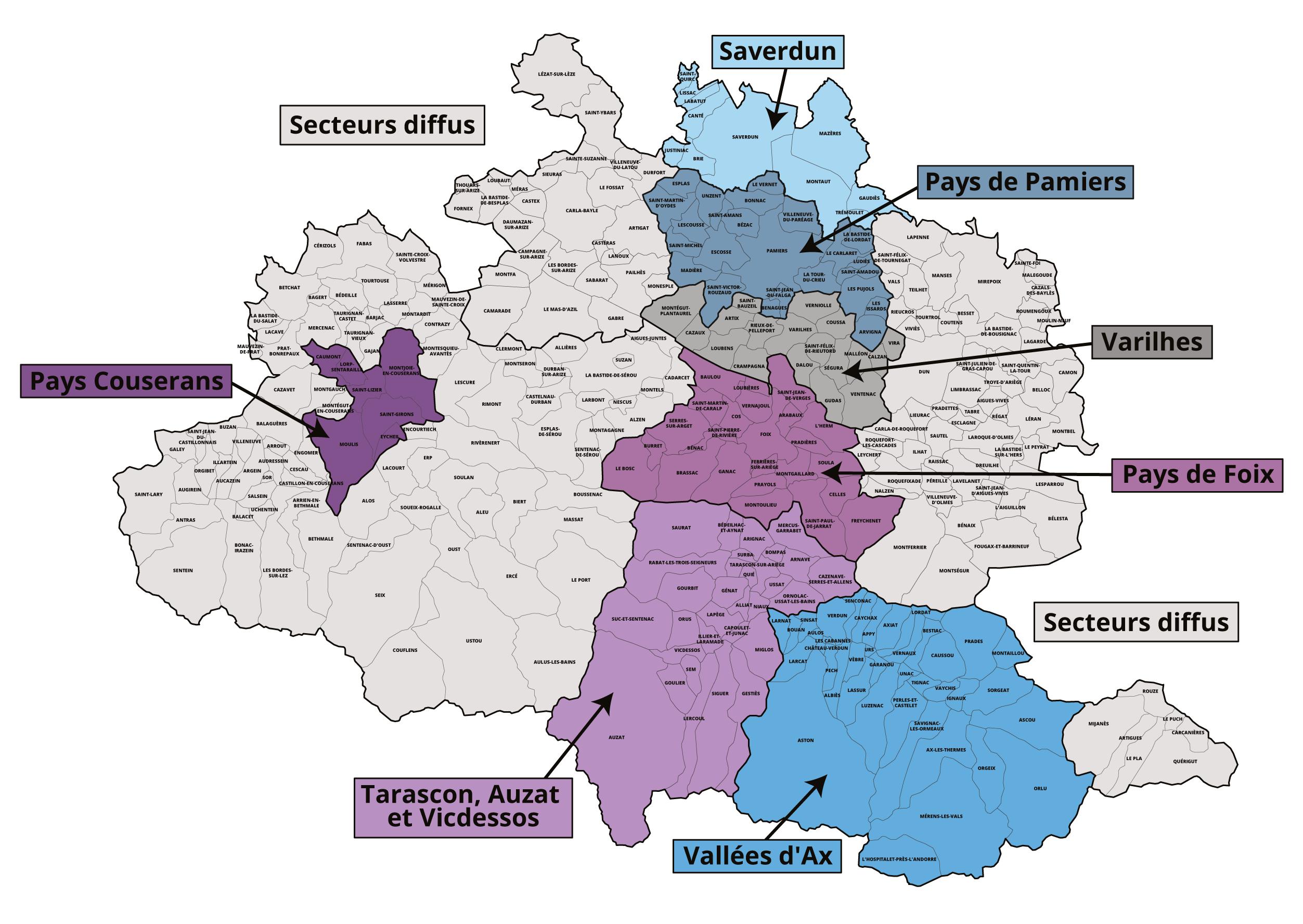 Carte des secteurs diffus en Ariège pour l'ANAH (Maison de l'Habitat de l'Ariège)