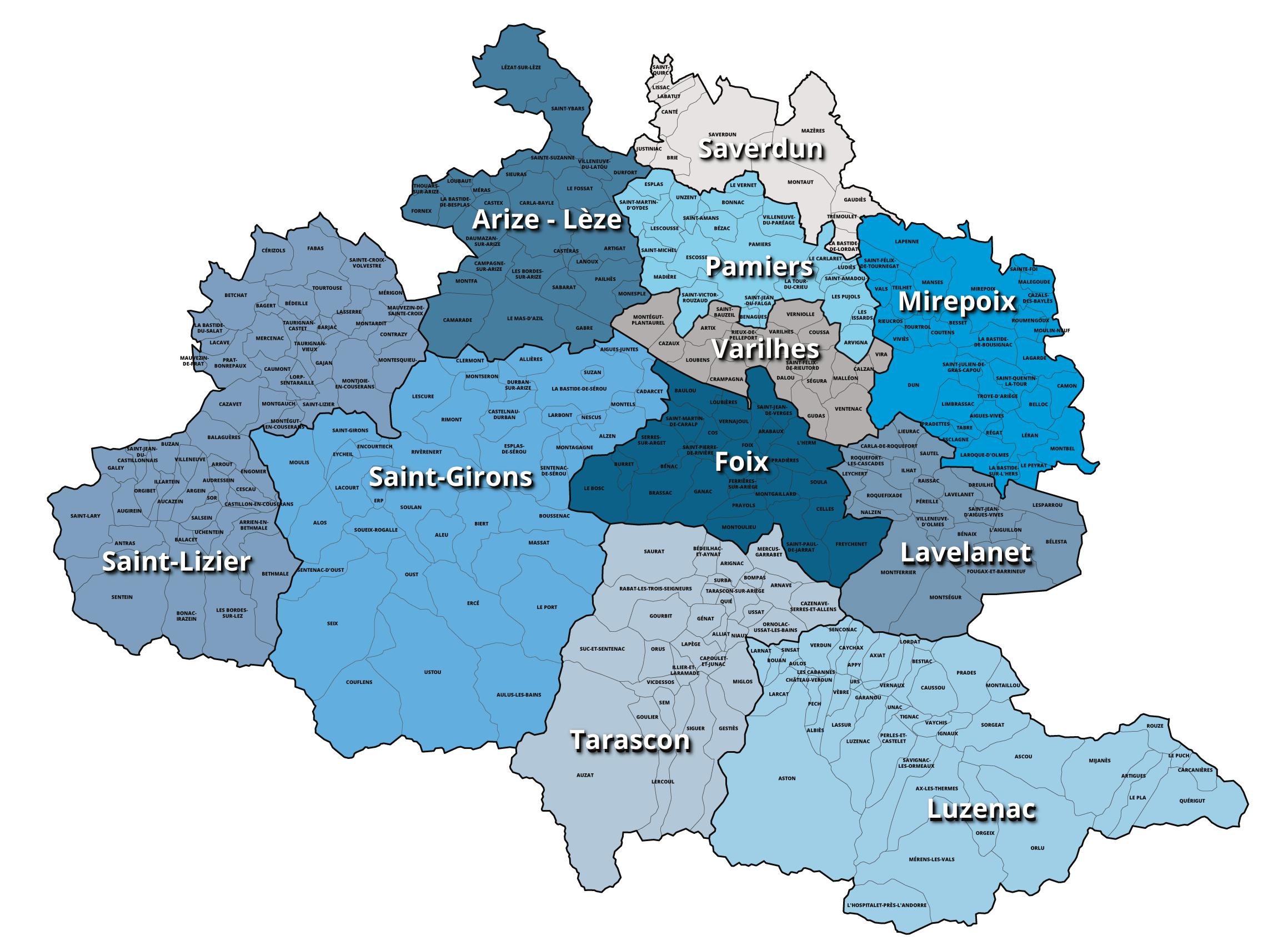Carte des centres locaux en Ariège