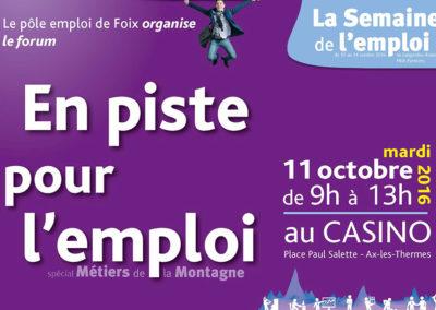 Forum EN PISTE POUR L'EMPLOI, spécial Métiers de la Montagne, le 11 octobre 2016 à Ax-les-Thermes