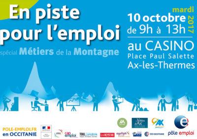 Forum EN PISTE POUR L'EMPLOI, spécial Métiers de la Montagne, le 10 octobre 2017 à Ax-les-Thermes