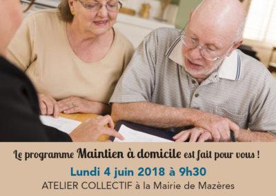 Atelier collectif pour le maintien à domicile – Mairie de Mazères, le 4 juin 2018