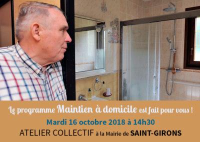 Atelier collectif pour le maintien à domicile – Saint-Girons, le 16 octobre 2018