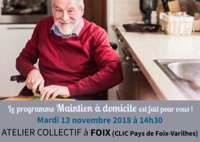 Atelier collectif pour le maintien à domicile – Foix, le 13 novembre 2018