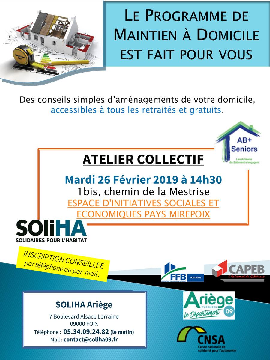 Atelier collectif pour le maintien à domicile – Mirepoix, le 26 février 2019