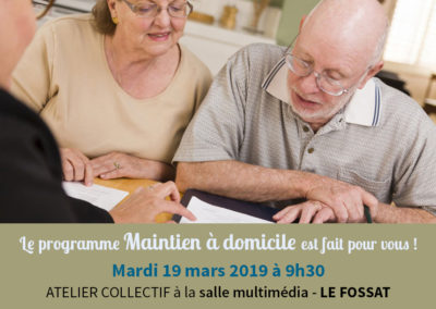 Atelier collectif pour le maintien à domicile – Le Fossat, le 19 mars 2019